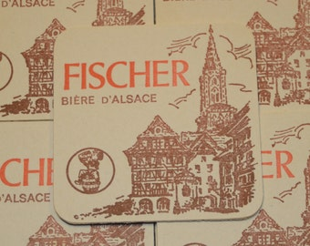 Vintage Fischer Biere D'Alsace Coasters - Buy as many as you need - Rare and out of print