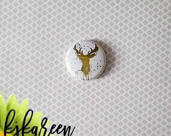 """Badge 1 """"- deer metallic gold"""