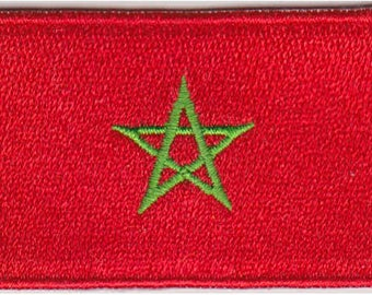 Small Morocco Flag Iron On Patch 2.5 x 1.5 inch Free Shipping