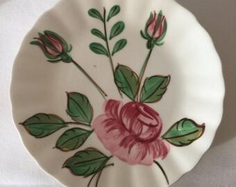 Vintage Hand Painted Blue Ridge Rose Plates ~ Set of Three