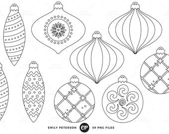 50% OFF SALE! Ornaments Digital Stamps, Christmas Line Art, Baubles Clip Art - Commercial Use, Instant Download