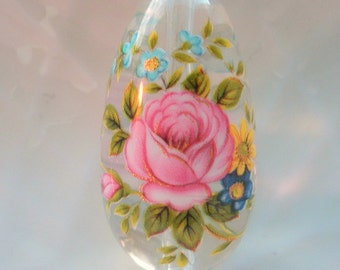 Beautiful Japanese Focal Point Tensha Bead Pink Rose on Clear  15 MM x 30 MM