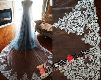 Lace wedding veil cathedral ivory beaded with crystals taper lace