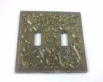 Vintage Light Switch Plate -  Double Lightswitch Cover- Ornate Antiqued Hold Decor 1960's MC Co