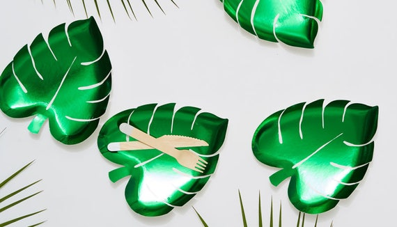 8x Meri Meri Leaf Plates party plates tropical theme jungle party palm leaf paper plates party decorations disposable plates green & 8x Meri Meri Leaf Plates party plates tropical theme