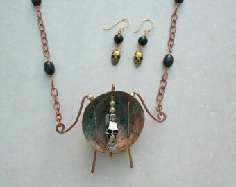The Necromancer, Skull Focal & Charms, Hand-forged Copper Pendant, Copper Chain and Clasp, Skull Earrings, Copper Set by SandraDesigns