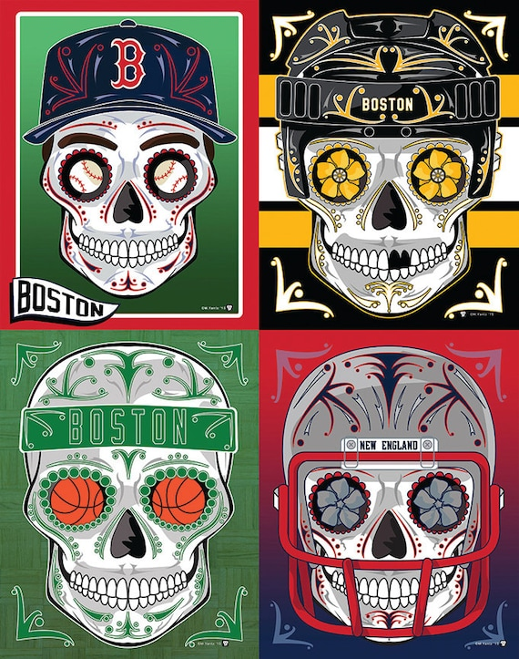 Paquete de Boston 4 deportes azúcar cráneo impresiones