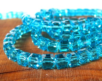 "15"" 6mm 8mm Aqua Blue CUBE crystal glass 3D Beads faceted - PICK size"