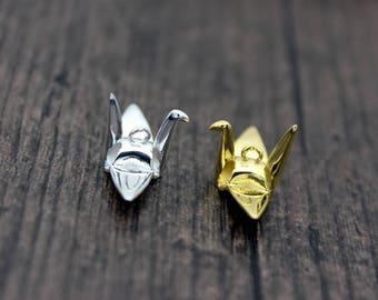 Sterling Silver Crane Charm Pendant, Bird Charm, Bird Pendant, Origami Charm, Paper Crane Charm