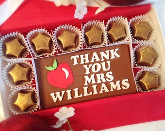 Personalized Thank You Teacher Gift - Chocolate Teacher Thank you - Apple Teacher Appreciation Gift - Teacher Thank You Chocolates
