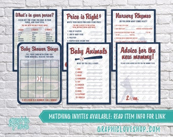 Digital Set of 6, 5x7 Vintage Baseball Baby Boy Shower Games & Advice for Mom Card, Made to Match | PDF, Instant Download, Ready to Print
