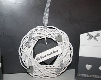 """Crown hanging Wicker white and grey heart """"home sweet home"""""""