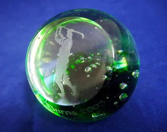 Vintage Green Glass Golfing Paperweight, Engraved Etched Golfer T Burns 2003 Faceted Art Glass Golf Trophy + Bubbles