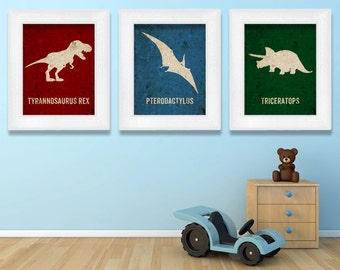Dinosaur Poster Set Dino Nursery Prints TRex Poster Tyrannosaurus Baby Geekery Gifts for Teachers Typographic Print English Gifts Gag Gift