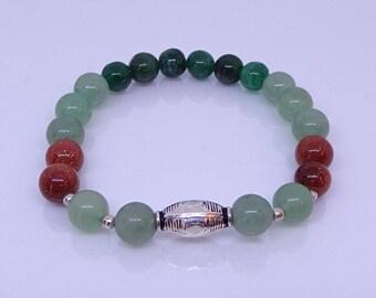 Aventurine, jade, sunstone, sterling silver bracelet.