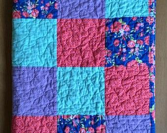 Baby girl floral quilt, toddler floral quilt, blue, pink, purple floral, baby girl quilt, modern girl quilt, baby girl gift, floral nursery,