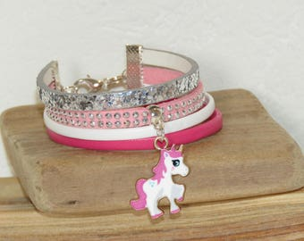 Cuff Bracelet for girl, bracelet Unicorn charm Unicorn girl bracelet, leather, glitter, pink, silver, pimprenellecreations