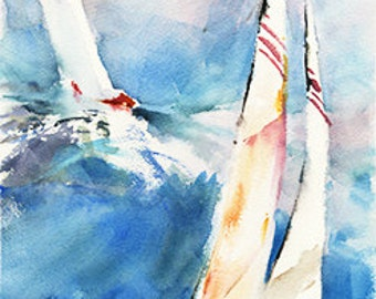 White Sails - Sailboat Watercolor Art Print by Michael David Sorensen. Sailing. America's Cup. Ocean. Blue. Red. Nautical. Sailboat Racing