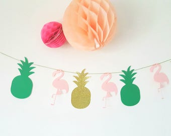 Garland of 8 elements-pineapple-Flamingo-Pink-Green-gold - for candy bar, birthday, party table