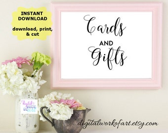 Cards and Gifts Sign, Cards and Gifts Printable, Wedding Signs, Gift Table Sign, Wedding Printable, DIY, PDF Instant Download