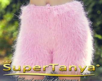 Fuzzy pink shorts thick and fuzzy mohair short pants by SuperTanya