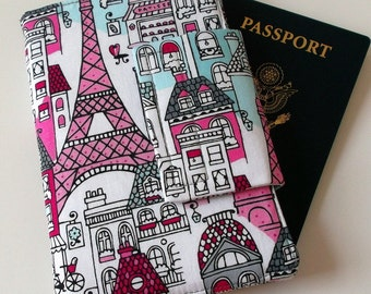 Passport Wallet with Travel Journal Smart Phone Wallet Mon Ami Paris Print grey chevron, Ready to Ship
