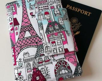 Passport Wallet with Travel Journal Smart Phone Wallet Mon Ami Paris Print grey chevron, Ready to Ship