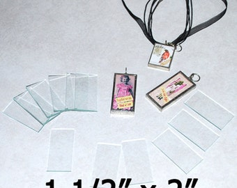 "1-1/2 x 2 Inch Rectangles - ((( 10 pack ))) 1.5 x 2"" Clear Pendant Glass  for Solder Art 2mm thick"