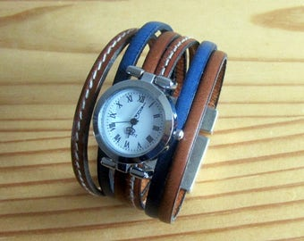 Watch cuff leather Camel/blue, Silver Dial, 30MM magnetic silver plated clasp. Sale 20%