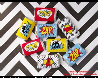 Superhero Chocolate Bar Wrappers - Candy Bar Wrappers - Superhero Party Favors - Comic Book Candy Wrappers - Digital & Printed