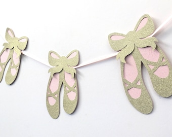 Ballet Shoes Garland Pink and Soft Gold. Baby girl, Birthday Party, Bunting, First birthday. Baby shower, ballerina, party decorations.