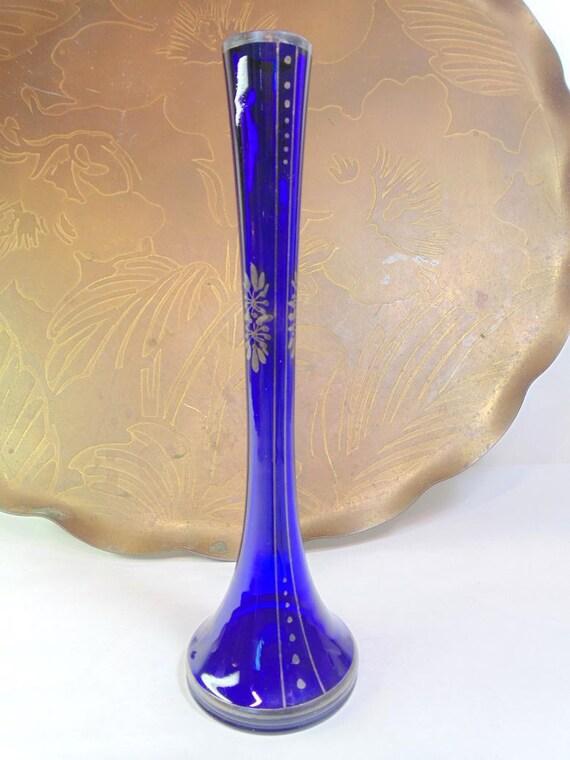 Bud Vase Bohemian Art Deco Cobalt Blue Vase Czech Glass Vase