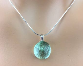Glass Necklace - Glass Pendant Necklace - Adjustable chain - Sterling Necklace - Seafoam Necklace - Gifts Under 50 - Droplet Necklace