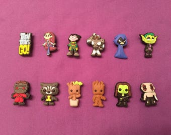 Guardians of the Galaxy / Teen Titans Go! Shoe  Charms for Crocs, Silicone Bracelet Charms, Party Favors, Jibbitz