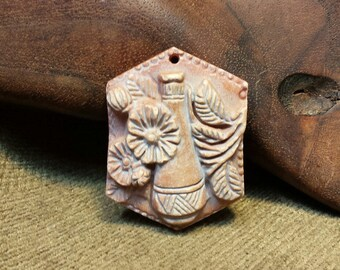 Sale #EarthDay ~ Southwestern Scene Carved in Natural Red Malachite