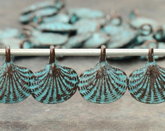 4 Mykonos Greek Casting Beads - Green Patina 15mm Scalloped Shell Dangle with Bail