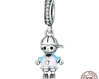 Silver Charms,925 Sterling Silver Charms, Clever Little Boy Charm, Kids Charm, Fit Pandora Bracelet, Silver Beads, DIY, Worldwide