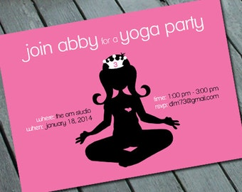 Girl's YOGA Birthday PARTY Invitation: Digital printable file *Printing Available Upon Request