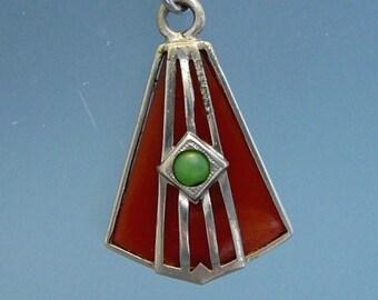 Deco Red Glass Pentagon Pendant Necklace