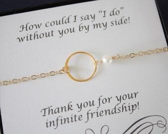 6 Gold Karma Bridesmaid Bracelet, Bridesmaid Gift, Infinity Bracelet, Bridesmaid Thank You Card, White Pearl, Gold Bracelet