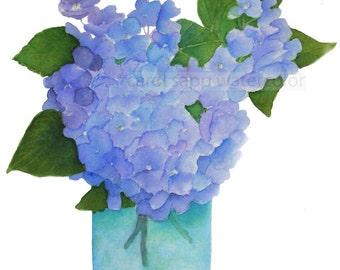 hydrangeas watercolor-hydrangea painting-hydrangea bouquet-bouquet painting-bouquet watercolor-blue hydrangeas-hydrangeas in vase-flower art