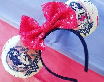 Wonder woman Minnie mouse ears, wonder woman headband