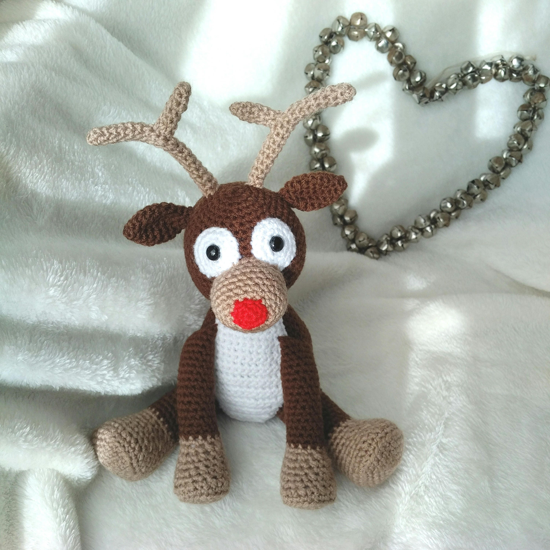 PDF Reindeer Crochet Pattern, Rudolph the Red Nosed Reindeer Crochet ...