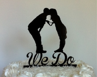 MADE In USA, Kissing Couple Silhouette Wedding Cake Topper We Do Cake Topper Mr and Mrs Silhouette Wedding Cake Topper Bride + Groom Topper