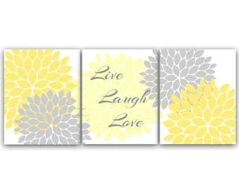 Bedroom Wall Art, Live Laugh Love, Instant Download Bath Art, Printable Modern Bedroom Wall Decor, Yellow and Gray Bedroom Decor - HOME29