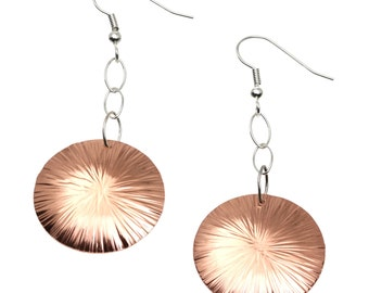 7 Year Anniversary Gift  Chased Copper Dangle Disc Earrings 7th Anniversary Gift For Her Seven Year Anniversary Gift Copper Anniversary Gift
