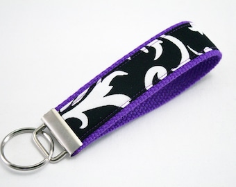 Fabric Key Fob, Key Chain, Key Ring, Key Holder, Wristlet Key Fob, Wristlet Keychain, Fabric Key fobs-Reverse purple