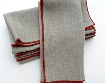 Linen Napkins, Edged Linen Napkin, Napkins, Cloth Napkins, Table Napkins, Dinner Napkins