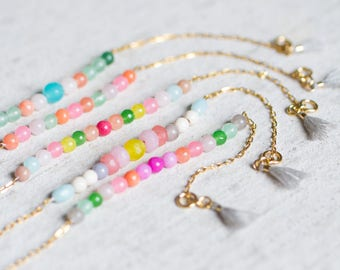 Dainty Multicolor Bead Bracelet, Beaded Gemstone Bracelet, Multicolor Thin Bracelet, Colorful Friendship Bracelet, Bridesmaids Bracelet