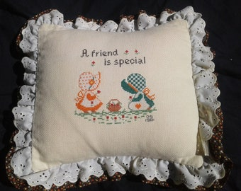 """Vintage Needle Point Pillow, Retro Holly Hobbie, 1981, Overstuffed, """"A Friend is Special"""", Mother's Day Gift"""